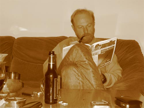 beer, pipe and a ham radio magazine(sepia-effect)