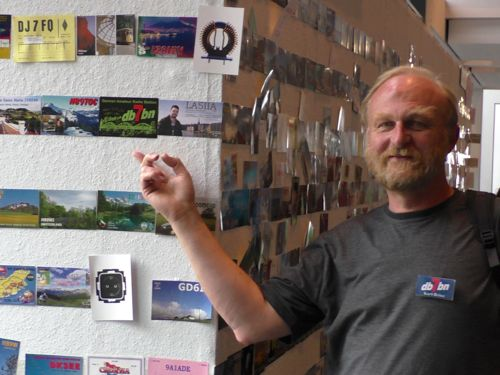 My new QSL card on the QSL wall at the Ham Radio 2014