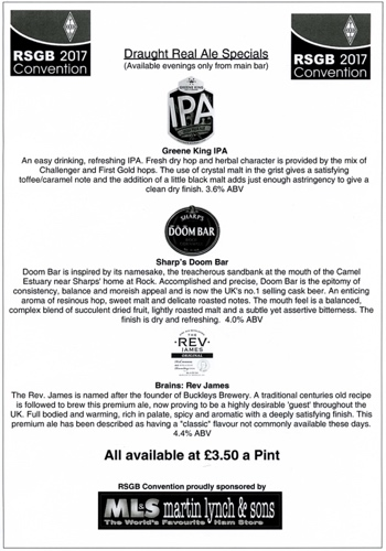 Draught Real Ale Specials served at the conference bar